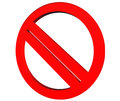 Signs of prohibition symbols on white background