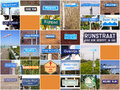 Signs referring to river rhine collage of various relating the in the netherlands Royalty Free Stock Photos