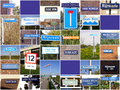 Signs relating to river rhine collage of various referring the in the netherlands Stock Photos