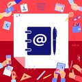 Notebook, address, phone book with email symbol and pen icon Royalty Free Stock Photo