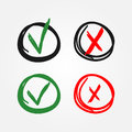 Signs of tick and cross. Icons drawn by hand. Two options. Yes and No.