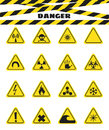 Signs warning of the danger from explosives and flammable liquids, the presence of magnetic field and radiation. Dangerous. Vector Royalty Free Stock Photo