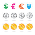 Signs world currency set of vector Royalty Free Stock Images