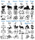 Signs of the zodiac image different drawing on paper Stock Photos