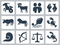 Signs of the zodiac vector icons Royalty Free Stock Photo