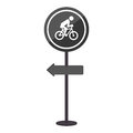 Sihouette pole with road sign with ride bike symbol