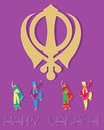 Sikh greeting card design an illustration of a with symbol punjabi dancers and the words happy vaisakhi on a purple background Stock Photos