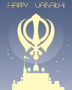 Sikh greeting card an illustration of a with symbol gurdwara and stars on a blue background with space for text Stock Image