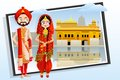 Sikh wedding couple easy to edit vector illustration of Royalty Free Stock Images