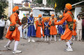 Sikhs in nagar keertan celebrations during prakash utsav of th birthday of first sikh guru and founder of sikh religion from Royalty Free Stock Photos