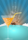 Siland cocktail illustration of orange with island and birds Royalty Free Stock Photos