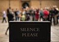 Silence please museum notice in oxford uk Stock Photography