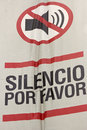 Silence please sign in spanish displayed in miraflores lima peru Royalty Free Stock Images