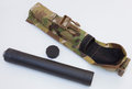 Silencer and accessories handgun suppressor along with its nylon back take down tool Stock Image