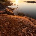 Silent calm lake at sunset Karelia, Russia Royalty Free Stock Photo