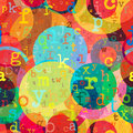 Silent dreams seamless pattern with colorful letters and circles on textured paper Stock Photography