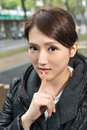 Silent gesture asian young woman give you a of closeup portrait Stock Images