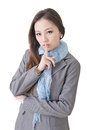 Silent gesture happy businesswoman with closeup up portrait of oriental office lady Royalty Free Stock Photo