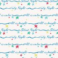 Silent night holy night lettering vector seamless pattern with colorful stars. Surface pattern design for Christmas