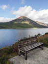 Silent valley bench a summer seat beside reservoir Stock Photos