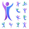 Silhouette abstract people performance character logo human figure pose vector illustration.