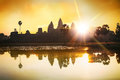 Silhouette of Angkor Wat at sunrise, the best time in the morning at Siem Reap, Cambodia Royalty Free Stock Photo