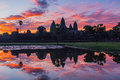 The silhouette of Angkor Wat before sunrise Royalty Free Stock Photo
