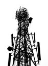 Silhouette of antenna Tower Stock Image