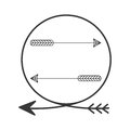 Silhouette arrowhead in shape circle with arrows inside