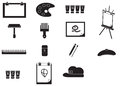 Silhouette artist painting tools icon set (vector) Royalty Free Stock Photo