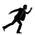 Silhouette of Asian business man running Royalty Free Stock Photo