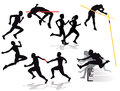 Silhouette of athletes competing black male and female in relay racing hurdles pole vault long jump high jump and running Stock Photo
