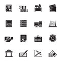 Silhouette bank, business, finance and office icons Royalty Free Stock Photo