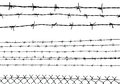 Silhouette of the barbed wire isolated on white illustration Stock Photography