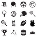 Silhouette Basics Sports equipment Icons Vector symbol set Royalty Free Stock Photo