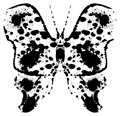 Silhouette of a batterfly painted by blots. Royalty Free Stock Photo