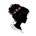Silhouette of a beautiful girl with hair stacked. vector illustr Royalty Free Stock Photo