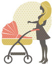 Silhouette of beautiful mother with baby carriage in retro style Royalty Free Stock Photo