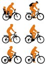 Silhouette bicycles Royalty Free Stock Photo
