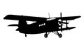 Silhouette of a biplane Royalty Free Stock Photography