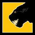 Silhouette of a black panther warning sign Royalty Free Stock Photography