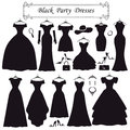 Silhouette of black party dresses.Fashion flat Royalty Free Stock Photo
