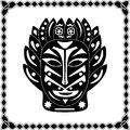 Silhouette black-white mask shaman Native American or African tr Royalty Free Stock Photo