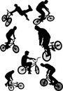 Silhouette of bmx riders Stock Photo