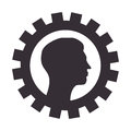 Silhouette border with gear wheels shape and profile man