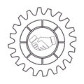 Silhouette border with gear wheels shape and shake hands