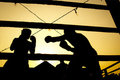 Silhouette boxing fight Stock Images