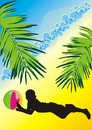 Silhouette of boy with a ball among the palms Stock Photos