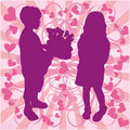 Silhouette boy & girl, love illustration, vector Stock Photos