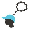 Silhouette of boy head with empty speech bubble Stock Images